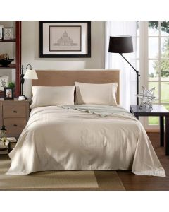 Kensington Luxury 1200TC 100% Cotton 3 Piece Sheet Set in Sand Stripe  - Single Bed