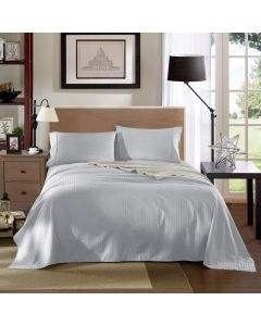 Kensington Luxury 1200TC 100% Cotton 3 Piece Sheet Set in Silver Stripe  - Single Bed