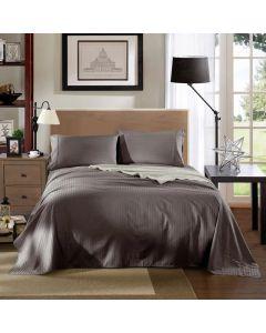 Kensington Luxury 1200TC 100% Cotton 3 Piece Sheet Set in Charcoal Stripe - Single Bed