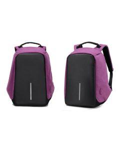 Milano Anti Theft Backpack Waterproof School Bag Travel Laptop Bag with USB Charging - Purple
