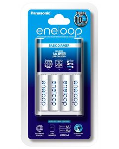 Panasonic AA & AAA eneloop Overnight Basic Battery Charger with 4 x AA batteries (K-KJ51MCC4TA)