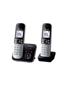 Panasonic Cordless Phone - Twin Pack - Equalizer and Noise Reduction, Works in Blackout (KX-TG6822ALB)