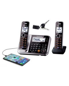 Panasonic Digital Cordless Phone with Link-to-Cell System, Key Finder and 2 Handsets (KX-TG7892AZS)