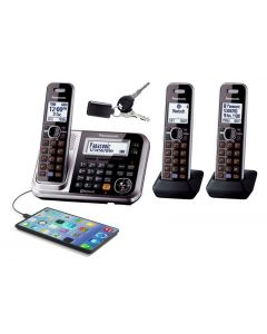 Panasonic Digital Cordless Phone with Link-to-Cell System, Key Finder and 3 Handsets (KX-TG7893AZS)